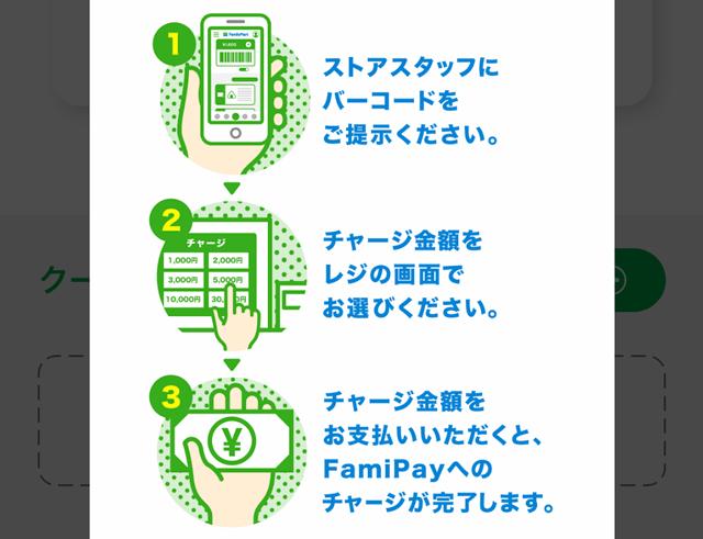 ファミペイ(famipay)の現金チャージの手順