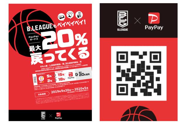 「B.LEAGUEもペイペイペイ!最大20%戻ってくるキャンペーン」の対象店舗(ブース)のポスター