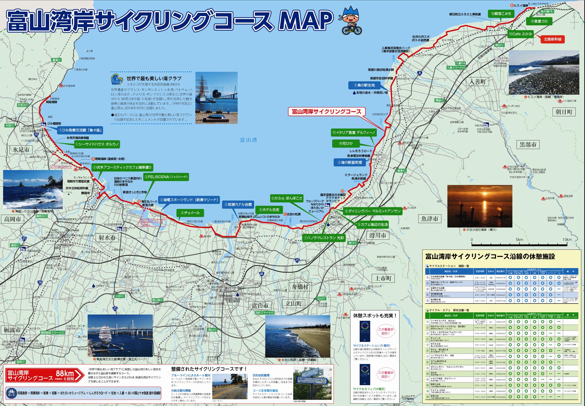 富山湾岸サイクリングのコースルート