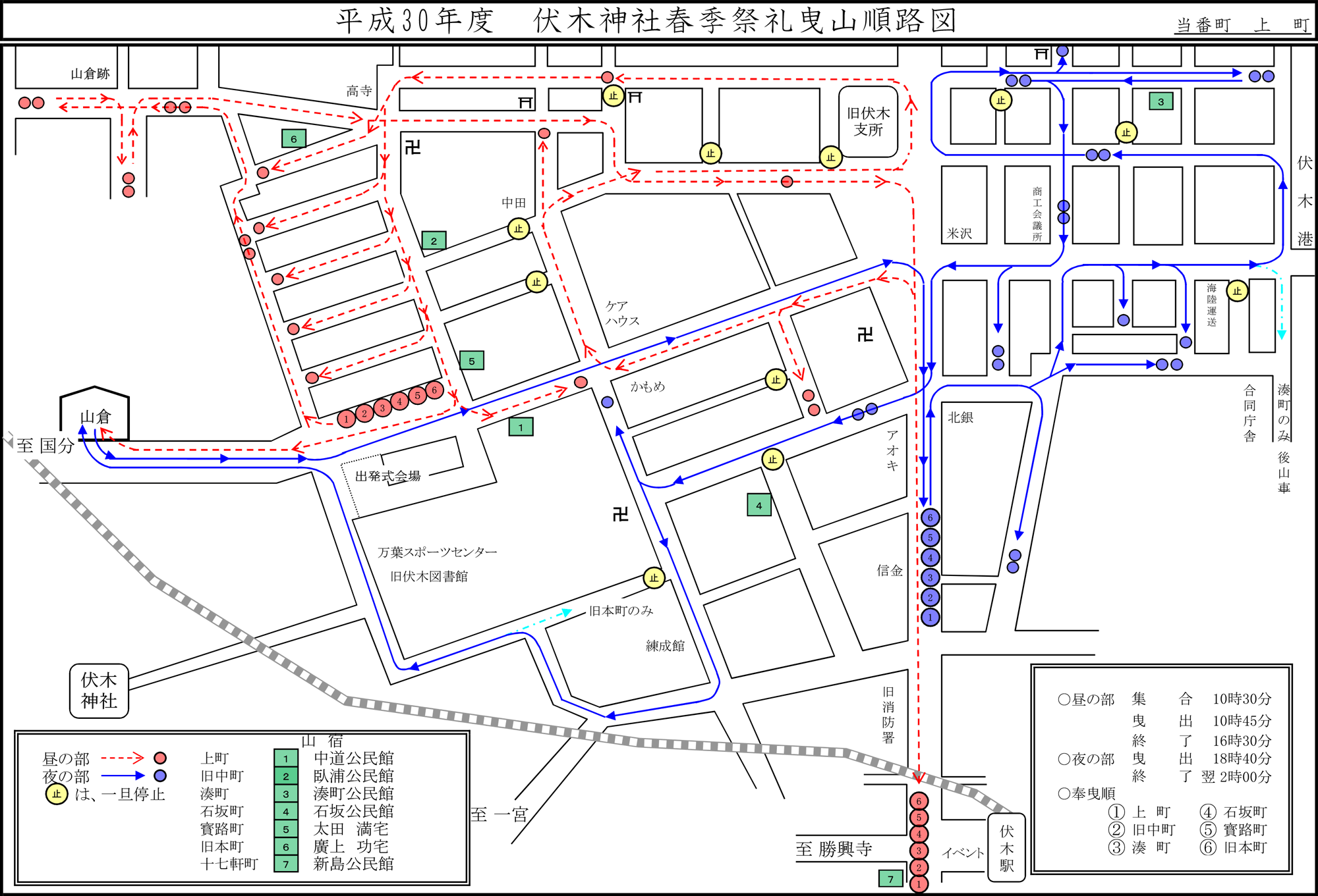 伏木曳山祭2018のルートマップ