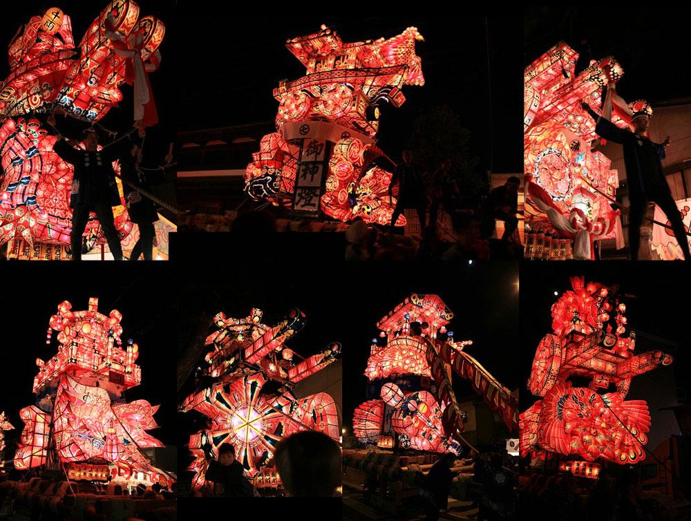 南砺市の福野夜高祭の各町内の行燈