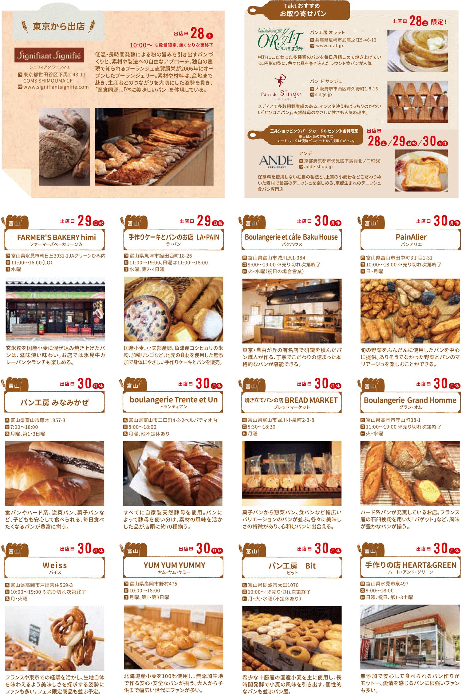 HOKURIKUパンフェス2018@三井アウトレットパーク、4/30出店のパン屋