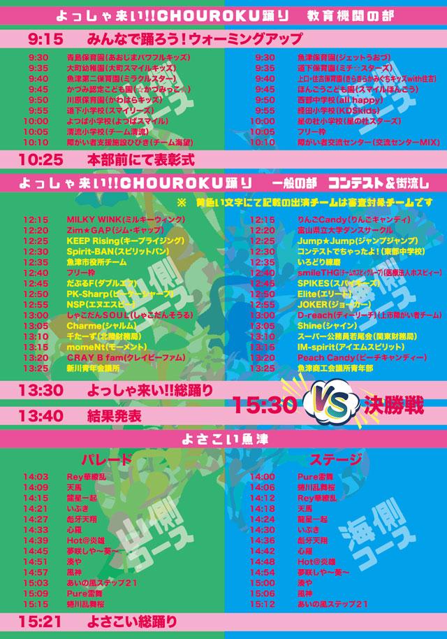 魚津駅前の「よっしゃ来い! CHOUROKUまつり2019」の「よっしゃ来い!!CHOUROKU踊り」と「よさこい魚津」の出演順
