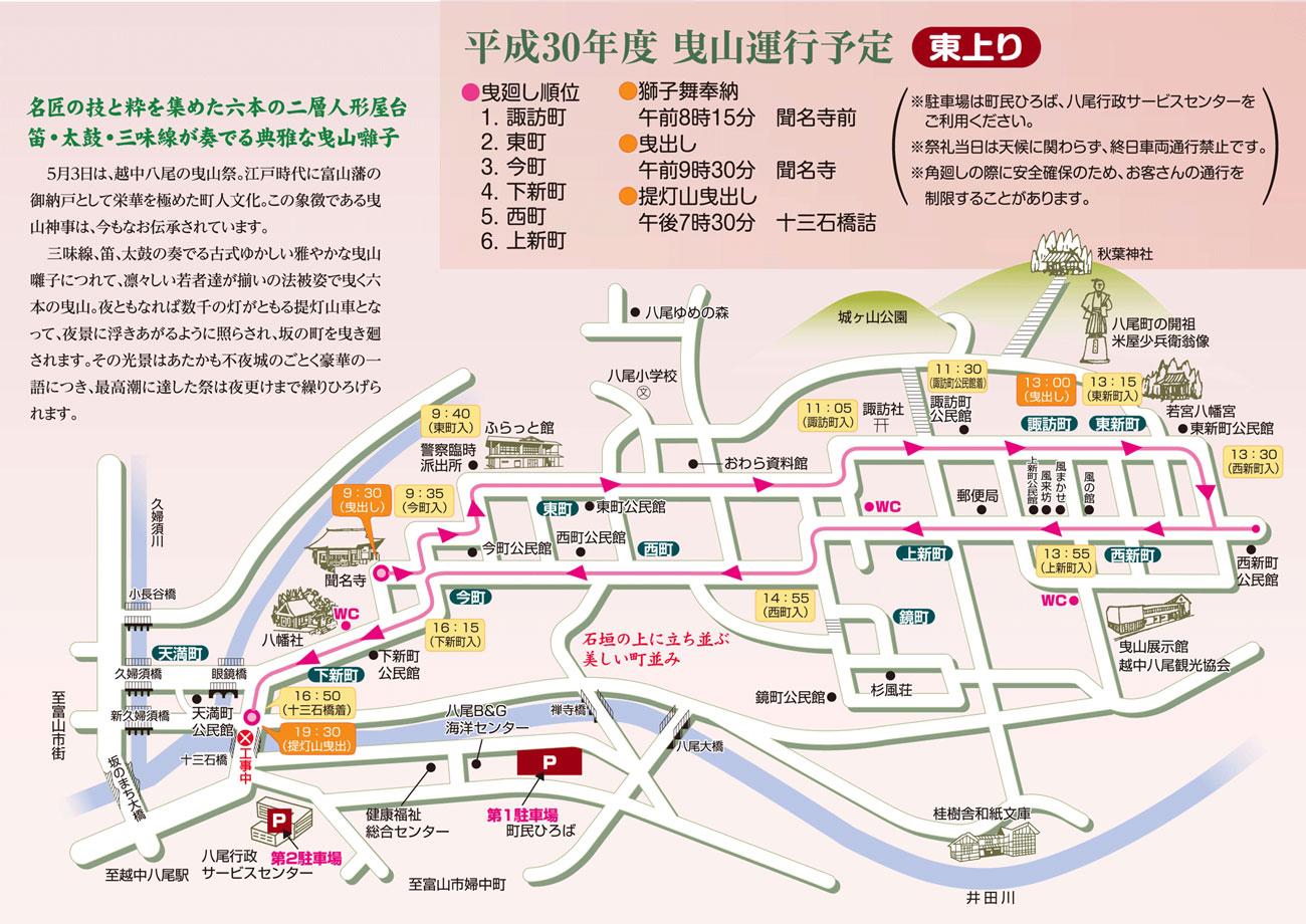 八尾曳山祭り2018の巡行地図