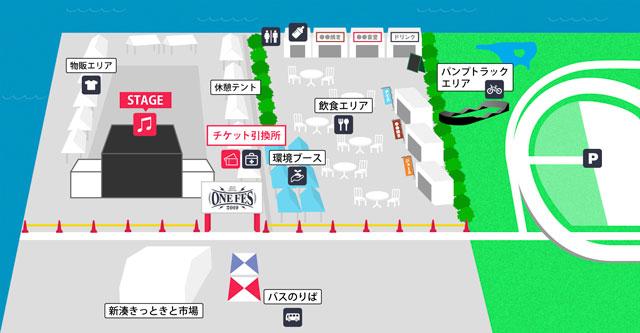 富山県射水市新湊で初開催される「ONE FES(ワンフェス)2019」の会場地図