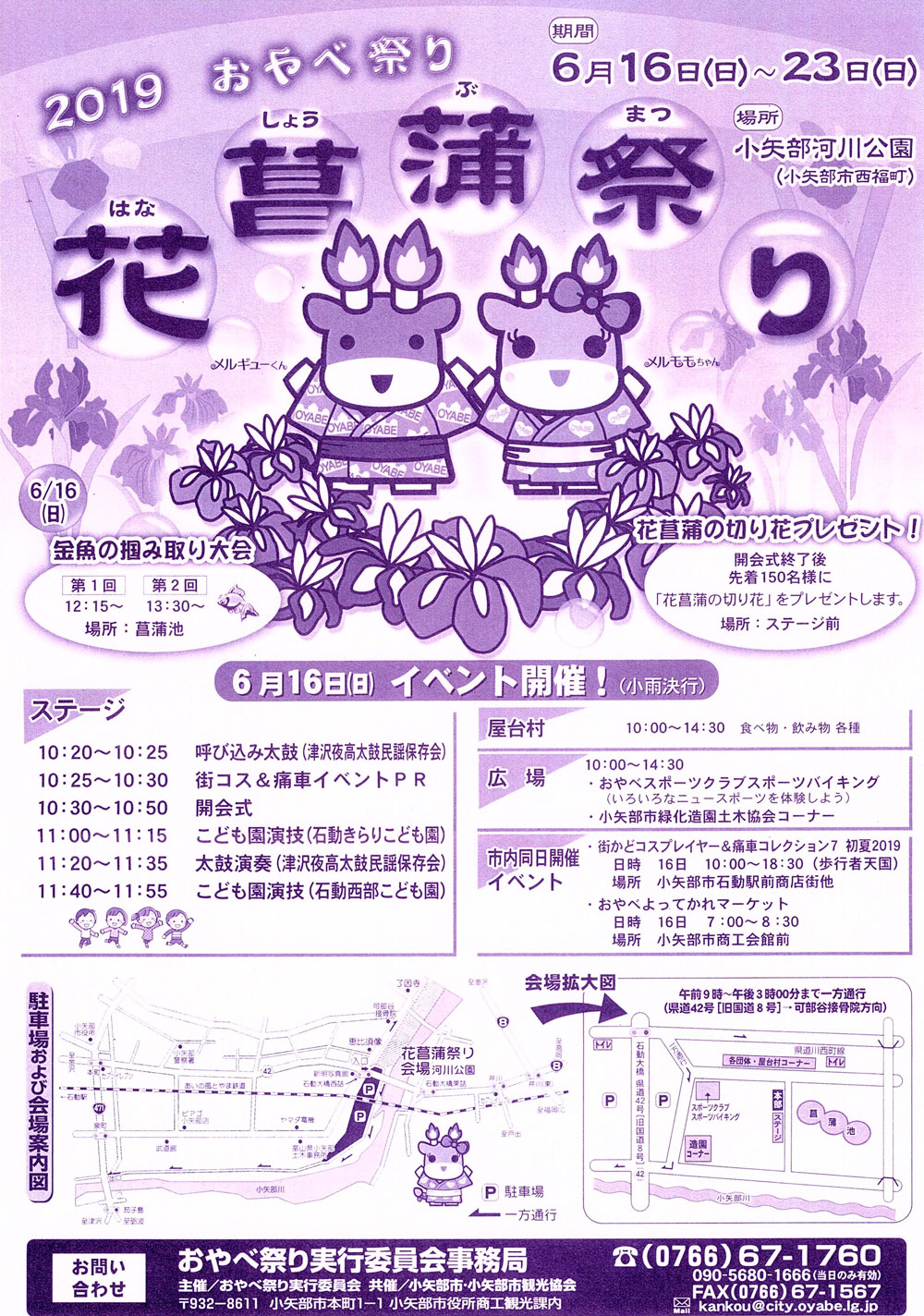 おやべ祭りの一つ「小矢部市の花菖蒲祭り2019」のチラシ