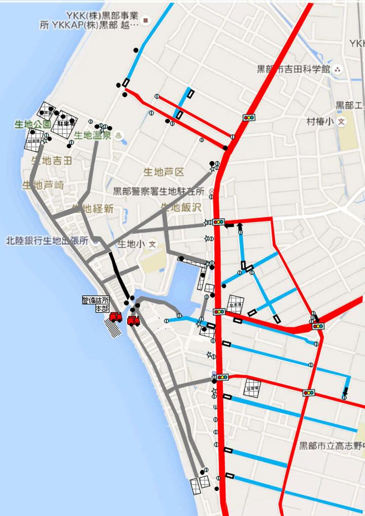 くろべ生地浜海上花火大会の交通規制マップ