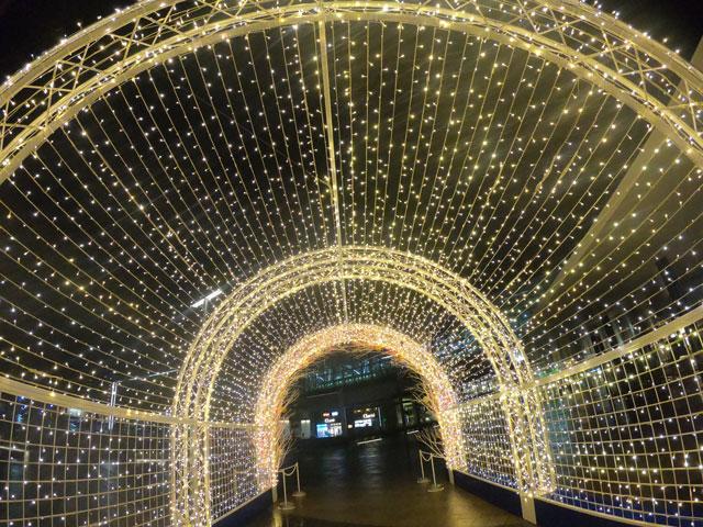 富山駅南口広場のホワイトイルミネーションとやまのカラフルラブアーチの中