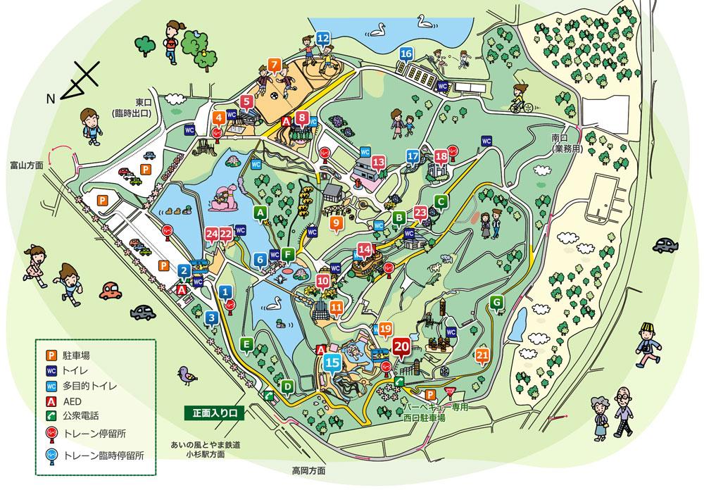 射水市太閤山ランドの簡易版公園内マップ