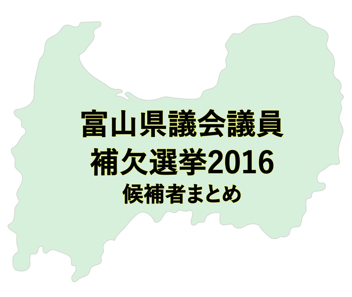 富山県議会議員補欠選挙2016