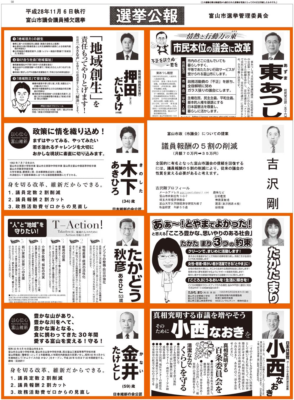 富山市議会議員補欠選挙2016当選者1