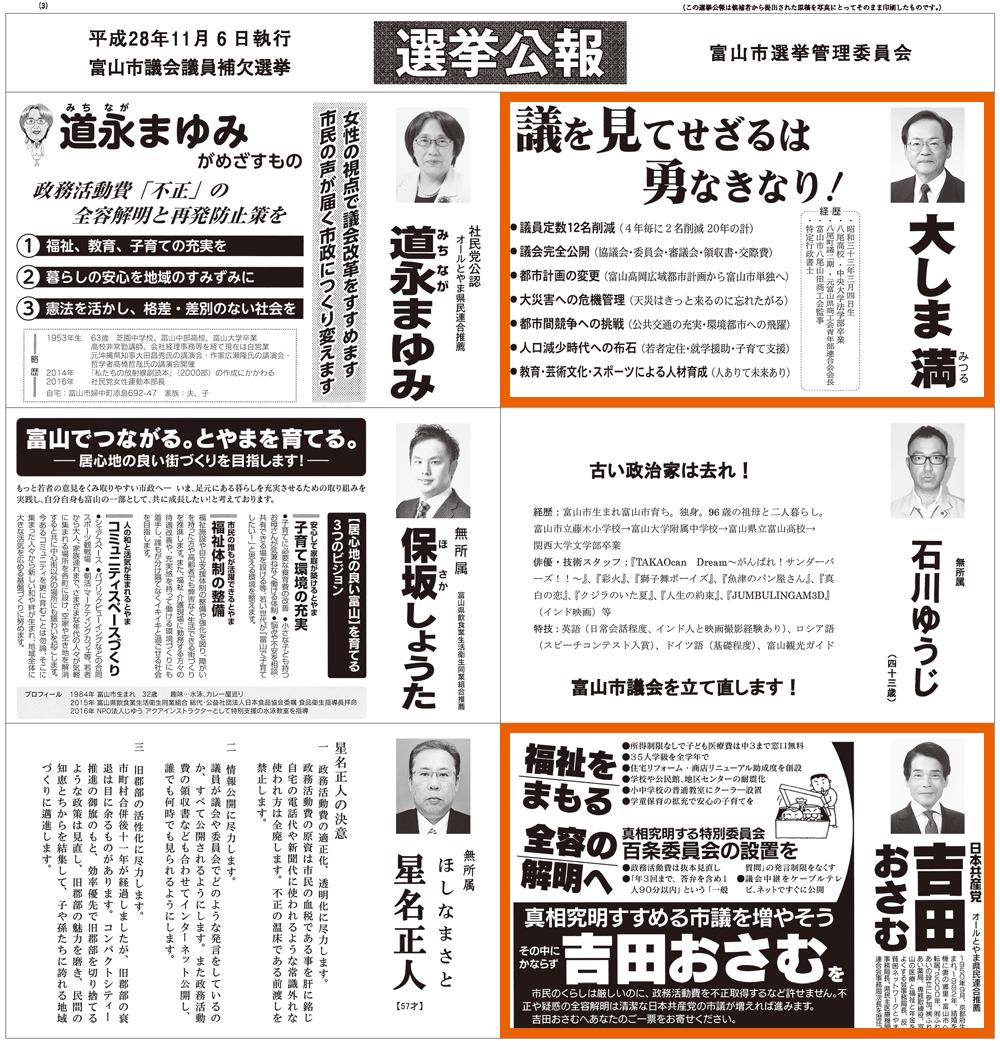 富山市議会議員補欠選挙2016当選者3