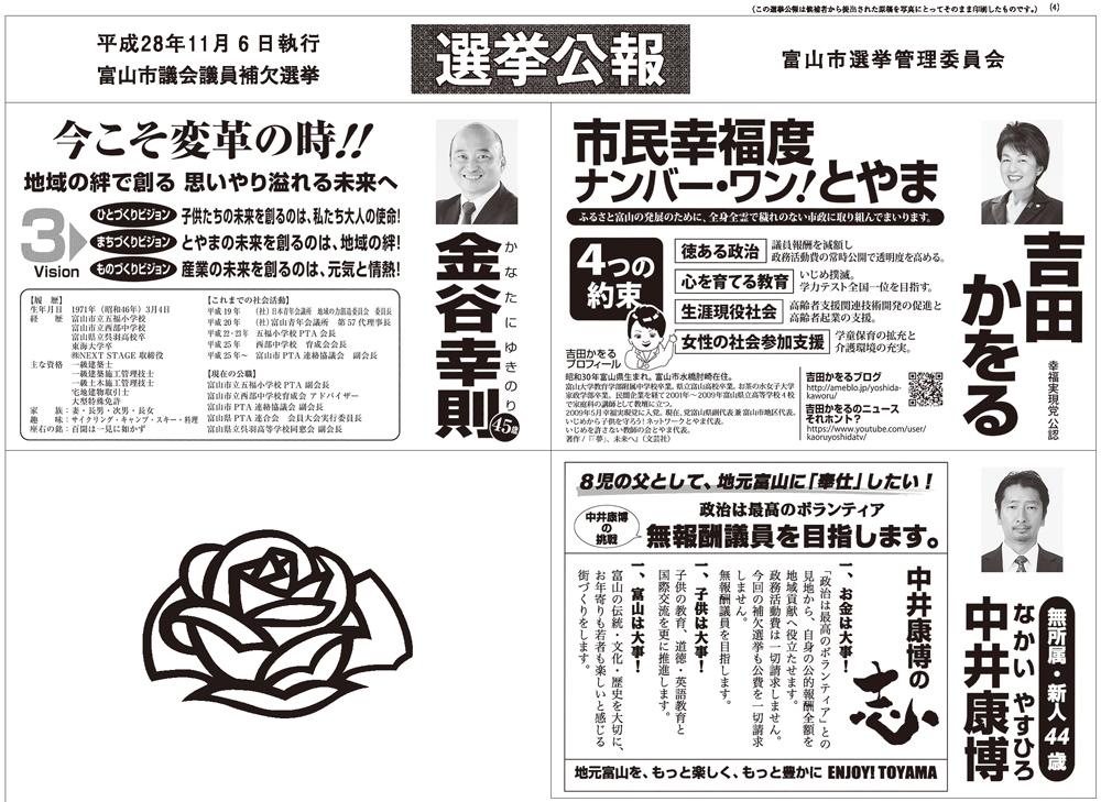 富山市議会議員補欠選挙2016当選者4