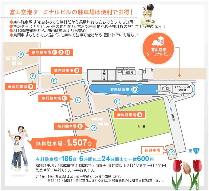 富山空港の駐車場