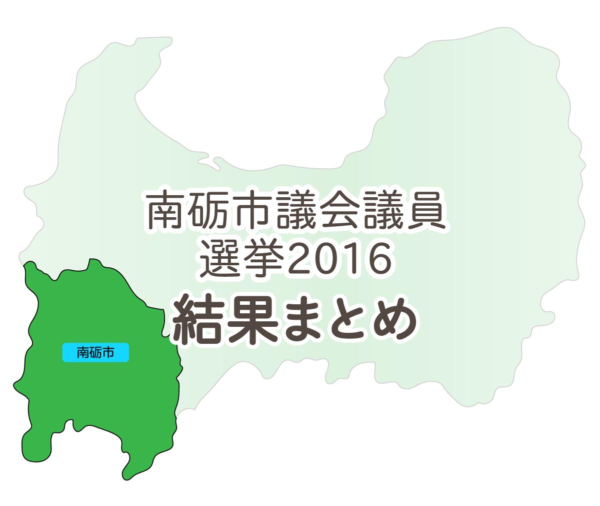 南砺市議会議員選挙2016結果