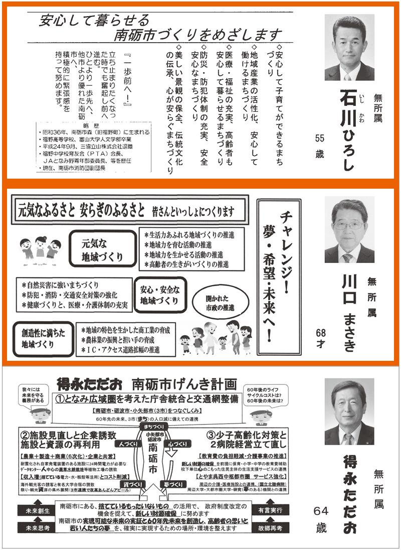 南砺市議会議員選挙広報2016当選者2
