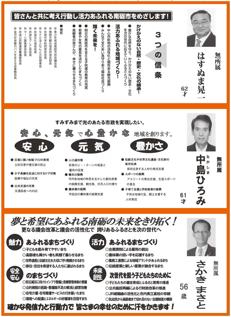 南砺市議会議員選挙広報2016当選者6