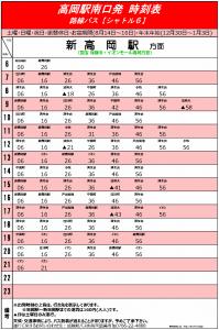 高岡駅南口発バスの時刻表(休日)
