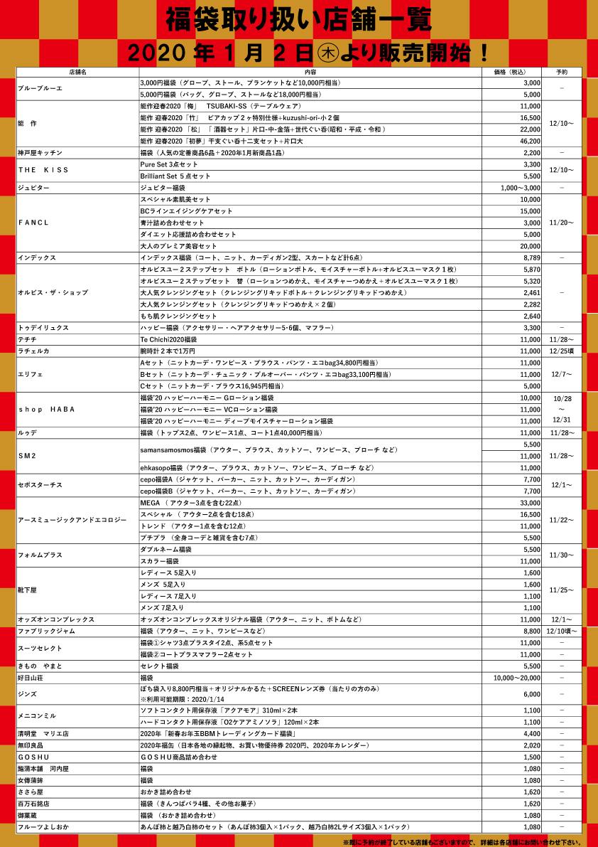 マリエ富山2020年の福袋発売情報