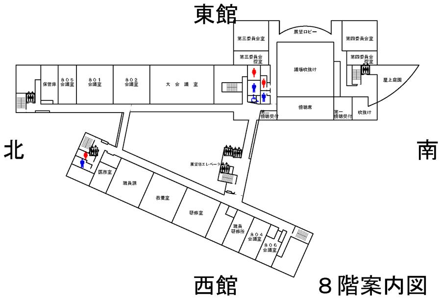 富山市役所8階の地図