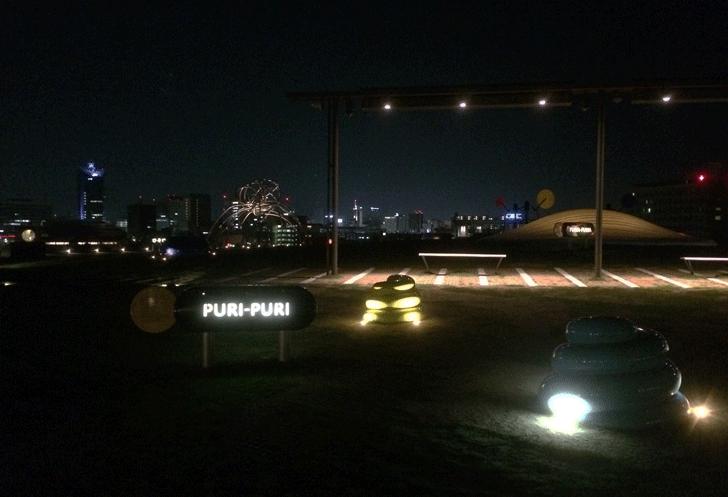 夜の富山県美術館オノマトペの屋上のぷりぷり