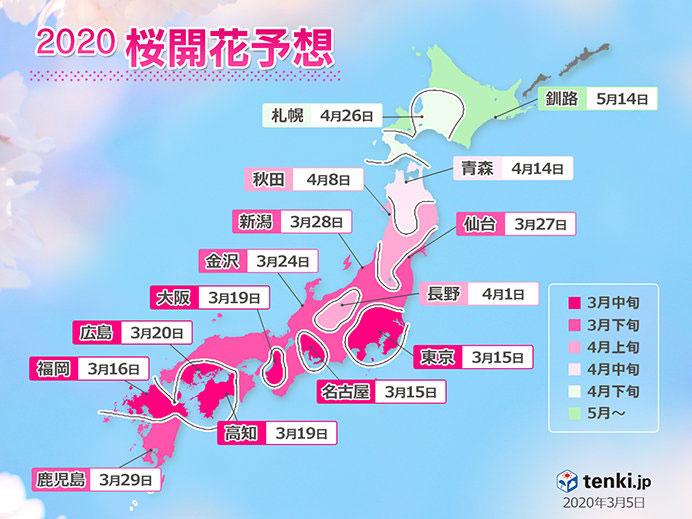 桜の予想開花日と予想満開日2020
