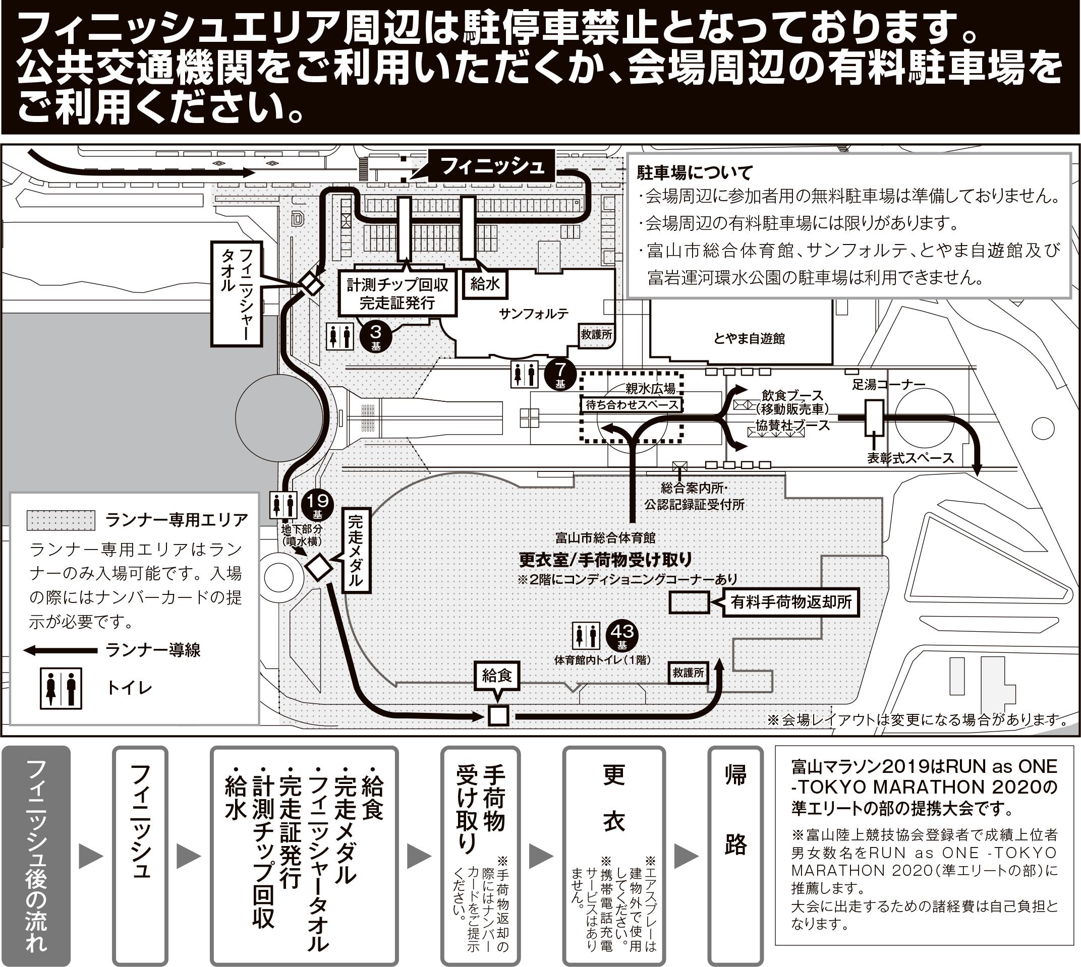富山マラソン2019のゴール地点マップ(富山環水公園)