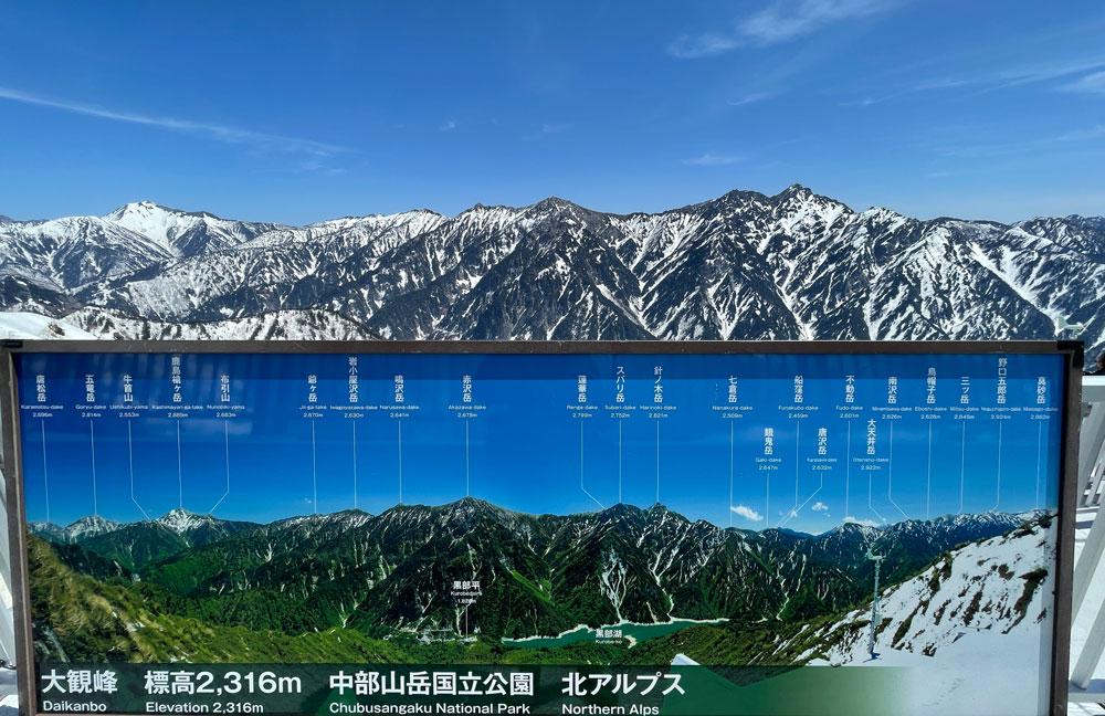 立山黒部アルペンルート「雪の大谷」、大観峰雲上テラスからの後立山連峰