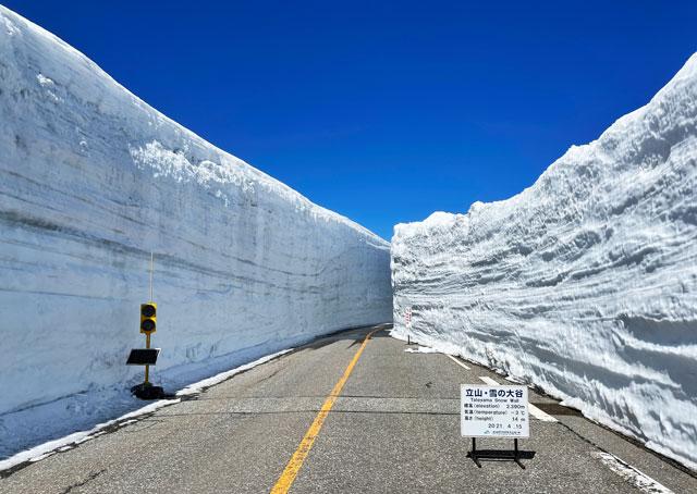 立山黒部アルペンルート「雪の大谷」の雪の壁が一番高いところ