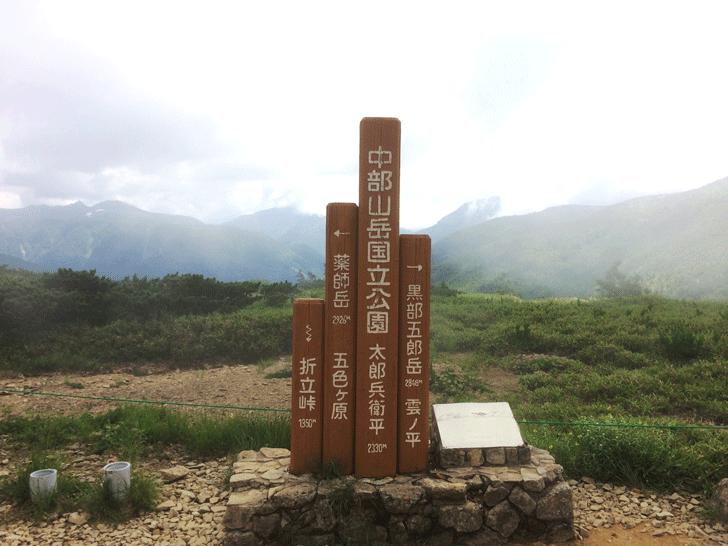 富山県の百名山薬師岳の太郎兵衛平の看板