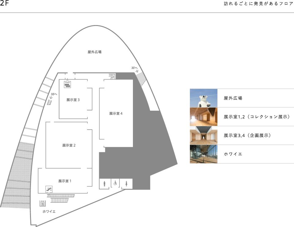 富山県美術館の館内マップF2