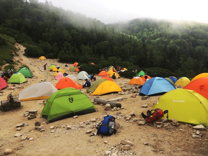 富山県の百名山薬師岳の薬師平のテント場