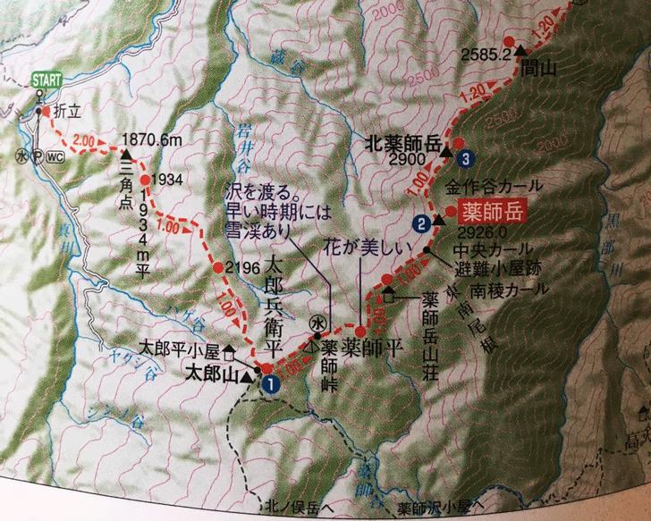 日本百名山「薬師岳」登山ルート