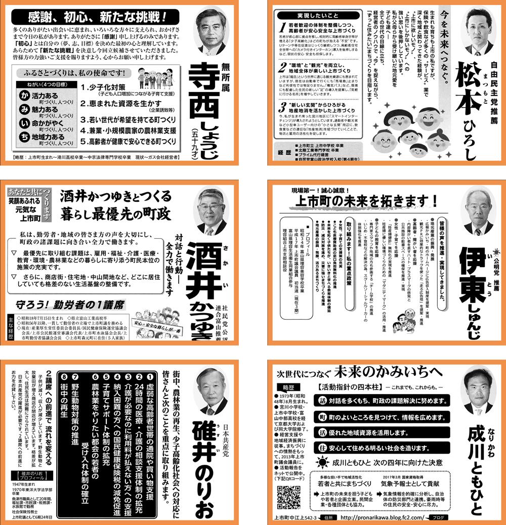 上市町議会議員選挙2017選挙公報と結果1