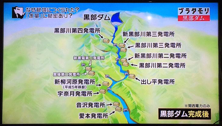 黒部ダムの発電所の場所図