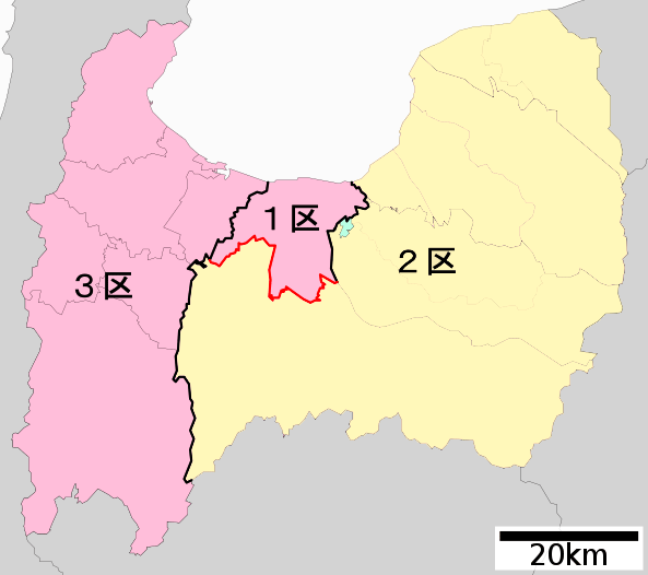 衆院選小選挙区制 富山選挙区の地図