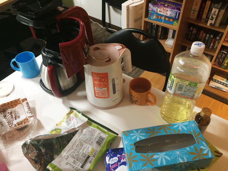 富山市金泉寺のボードゲームスペース「アソビバriddloop」のお菓子と飲み物