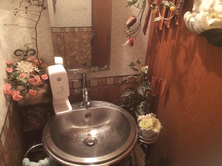 秋吉の老舗洋食屋「近代食堂もりの屋(MORINOYA)」の洗面所