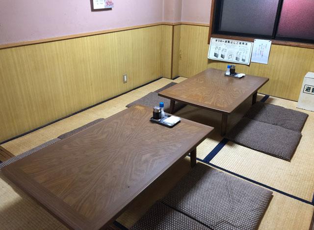 富山市石金にあるコスパ満点の洋食屋「グリル不二軒」の2階の上がり席(和室小)