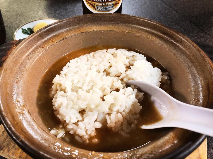 富山市太郎丸、モツ煮込みうどんの糸庄のもつ煮込みうどんのオジヤ