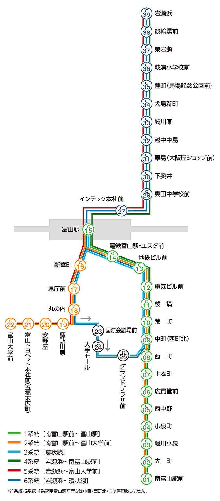 富山地方鉄道の市内電車路線図