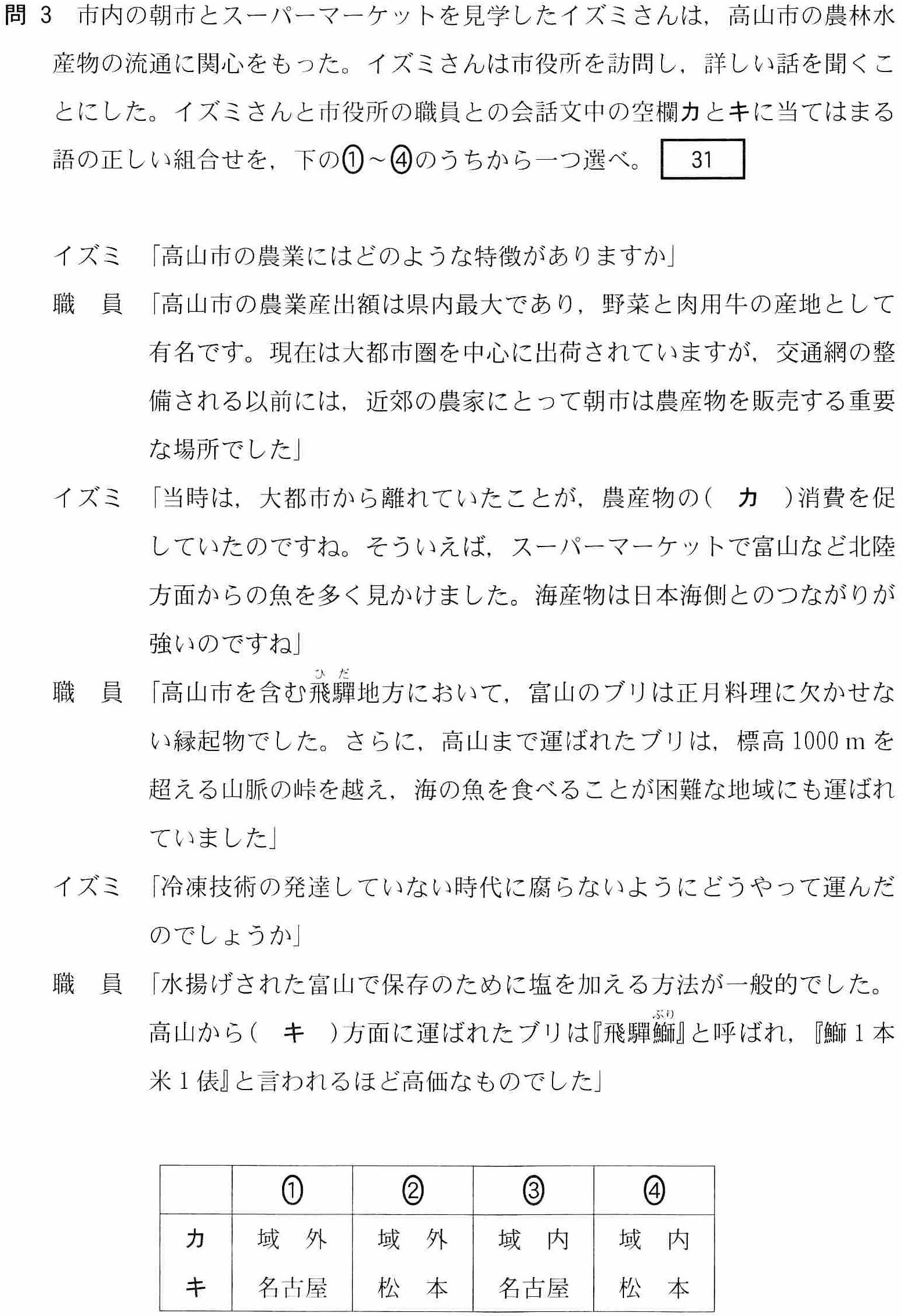 センター試験2018の富山関連問題(地理AB)4