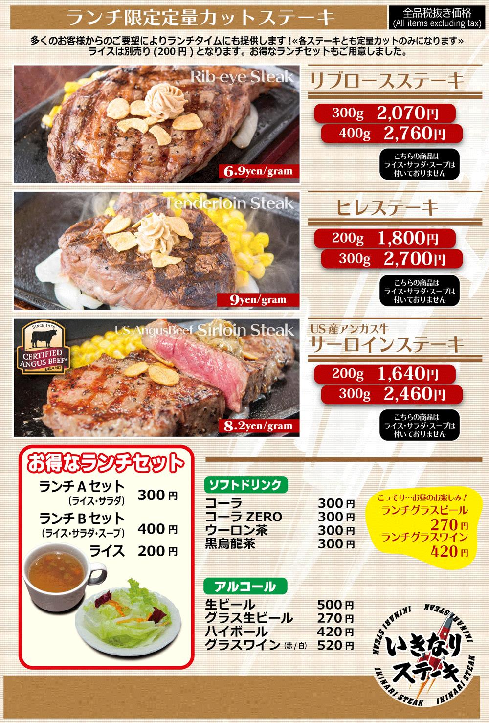 いきなりステーキ富山天正寺店のランチメニュー2