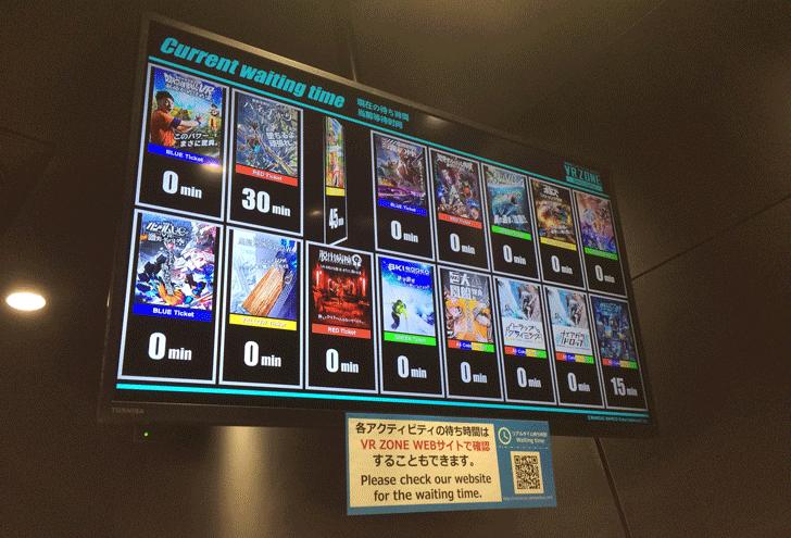 VRゾーン新宿の日曜日朝一の待ち時間