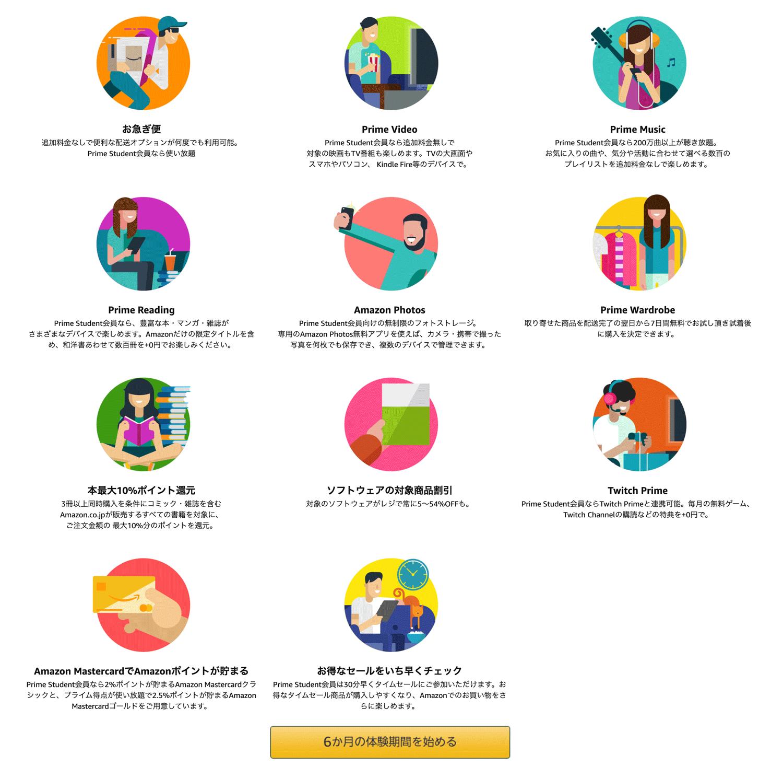 Amazonプライムステューデントのサービス内容一覧