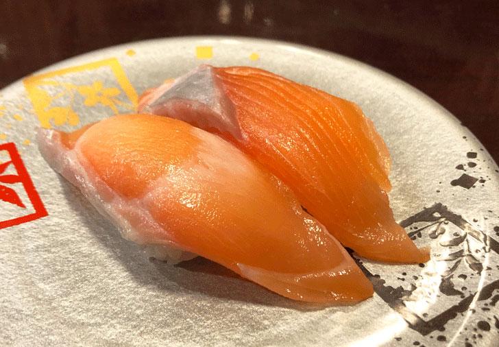 富山市郊外のちょっと贅沢な廻転鮨処すしだるまのキングサーモン