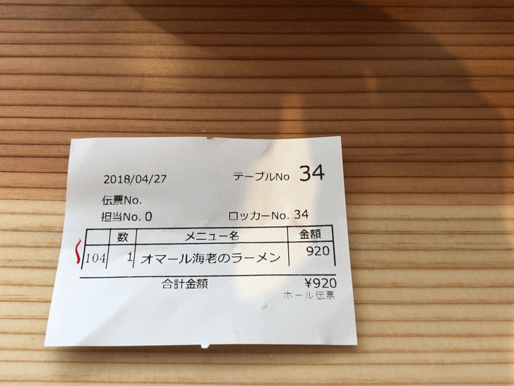 富山駅前「麺バル プライド」の伝票