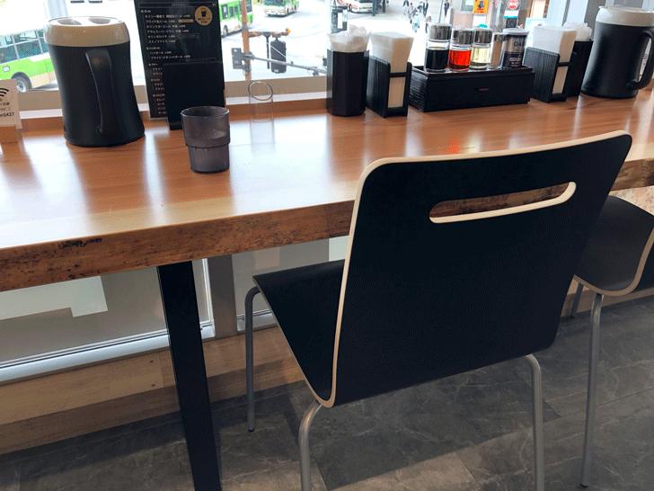 富山駅前「麺バル プライド」の椅子