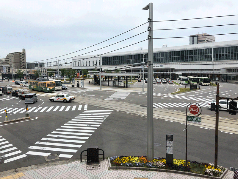 パティオさくらから見た富山駅前交差点