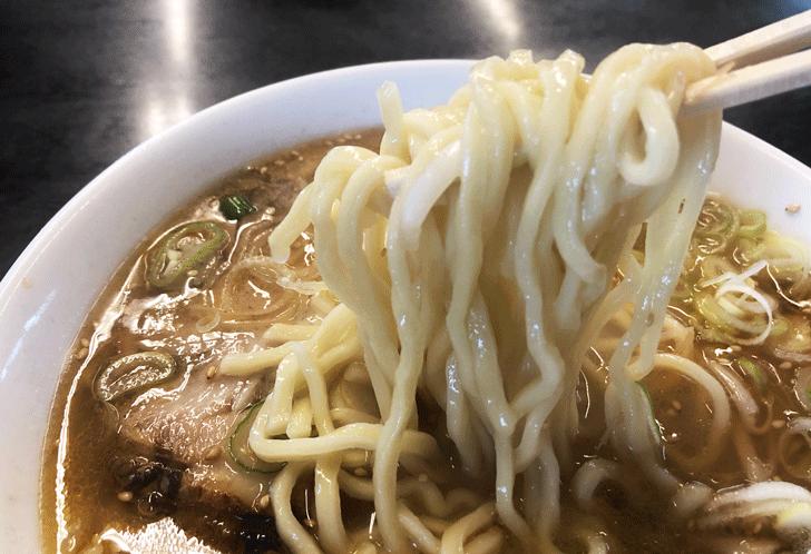 富山市豊若町のラーメンの白晃の麺